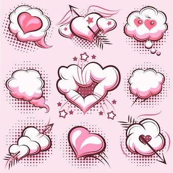 Set of comic elements for valentines day with explosions, hearts and arrows in the pink. clouds, love. vector illustration