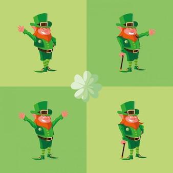 Set comic leprechaun character