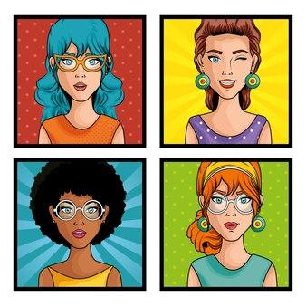 Set of comic like pop art women icons over white background vector illustration