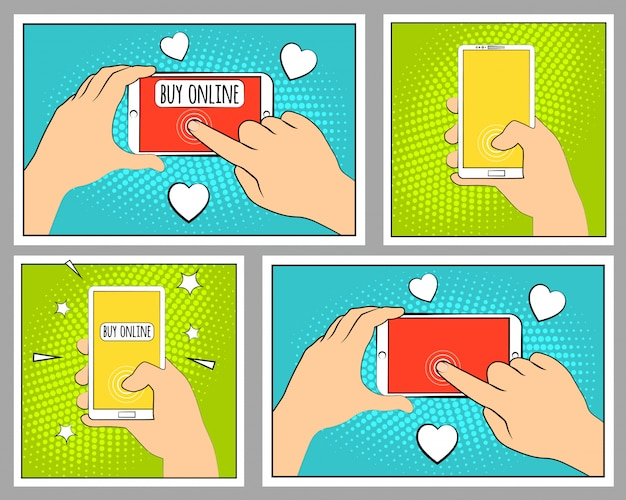 Set comic phone with halftone shadows. hand holding smartphone. pop art retro style.