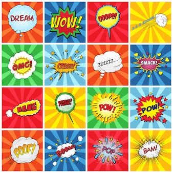 Set of comic sound effects illustration