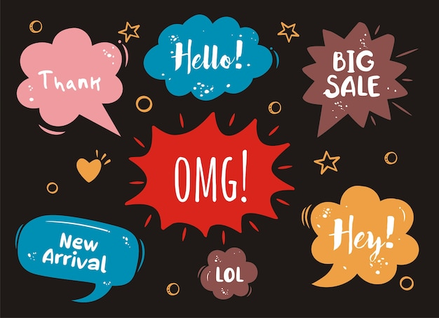 Set of  comic speech bubbles on black background