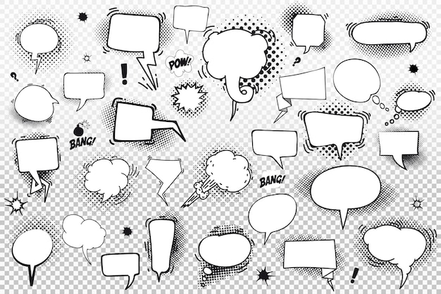 Set of comic speech bubbles and elements with halftone shadows.