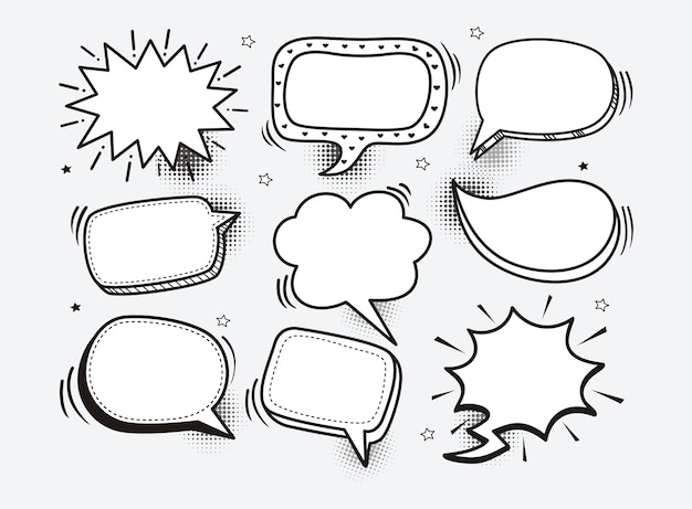 A set of comic speech bubbles and elements with halftone shadows