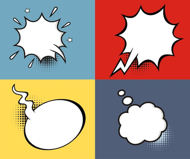 A set of comic speech bubbles and elements