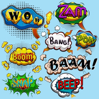 Set of comic speech bubbles. illustration