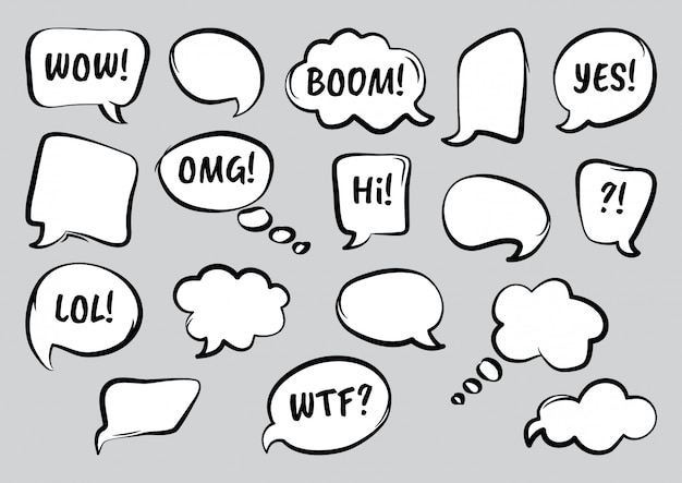 Set of comic speech bubbles with diffrent words, hand drawn. illustration