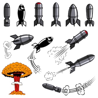 Set of comic style bomb. for poster, card, flyer, banner.  image