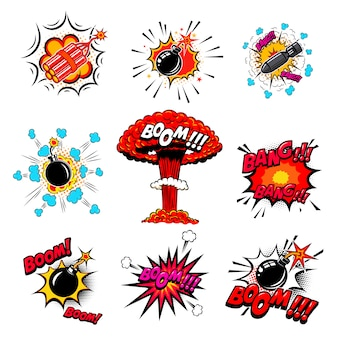 Set of comic style bombs, dynamite, explosions.  element for poster, card, emblem, print, flyer, banner.  illustration