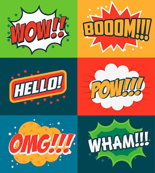 Set of comic style phrases. boom, wow, omg.