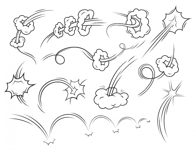 Set of comic style speed line effects. collection of speed tracks or rocket trail in a funny style.