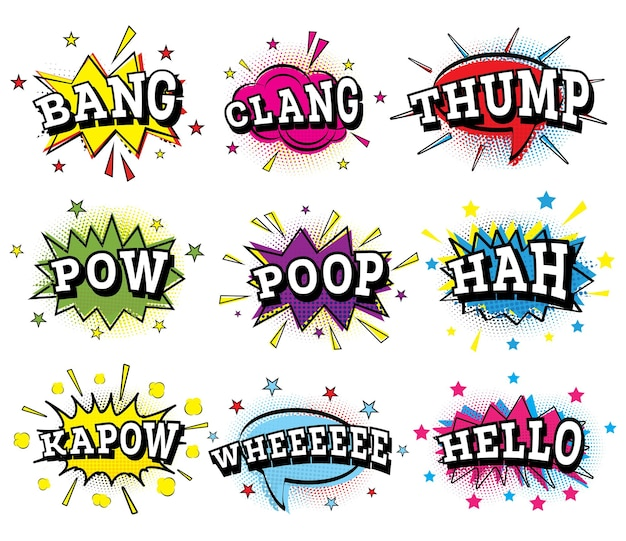 Set of comic text in pop art style. vector illustration