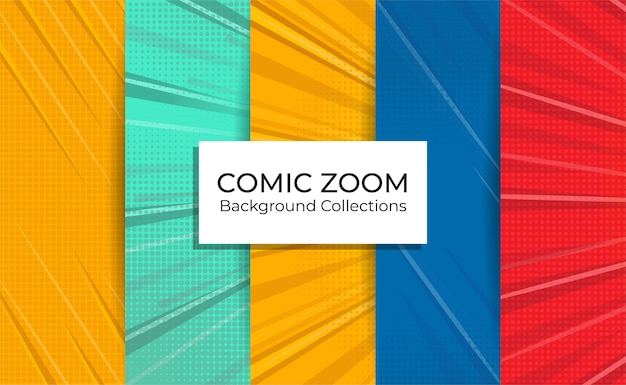 Set of comic zoom background collections with focus lines empty.
