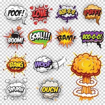 Set of comics speech and explosion bubbles. colored with text on transparent background.
