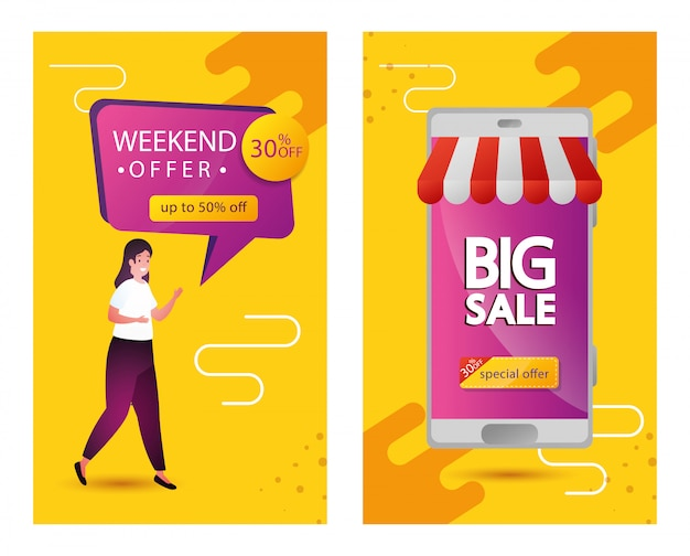 Set of commercial labels weekend offer lettering