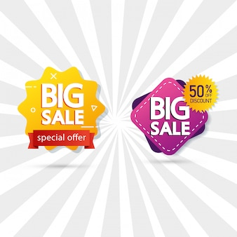 Set commercial labels with big sale offer lettering