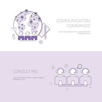 Set of communication commands and consulting banners business concept template