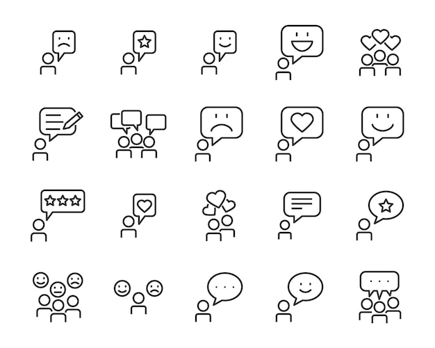 Set of communication icons, such as chat