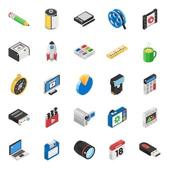 Set of communication isometric icons