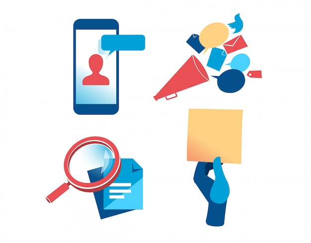 A set of communication and marketing clipart