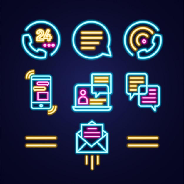 青の通信シンプルな明るいネオンアウトラインカラフルなアイコンを設定します