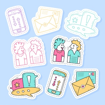 Set of communication stickers handwritten collection in cartoon style.