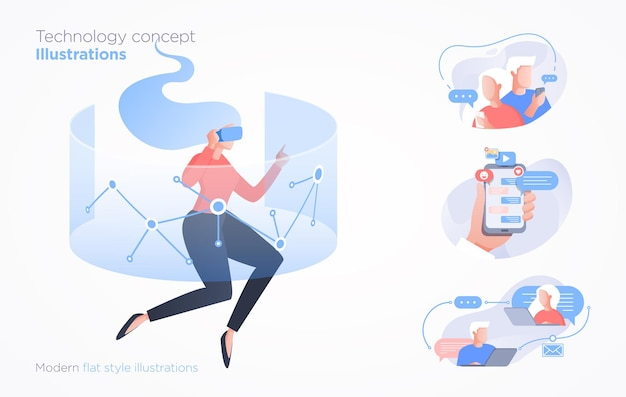 Set of communication technology illustrations
