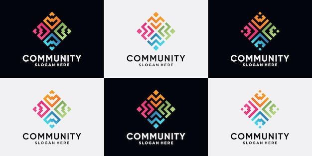 Set of community and human logo design for social group with line art style