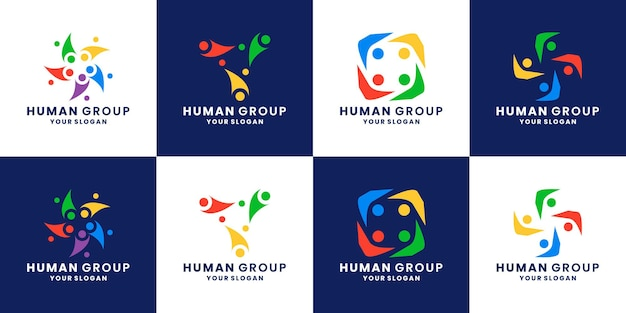 Set of community logo design human, people, team work, group, connection