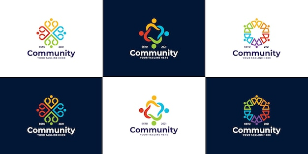 Set of community logo designs for teams and groups