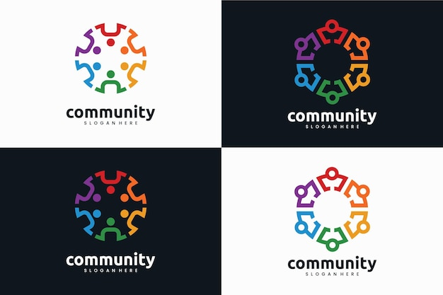 Set of community logo template