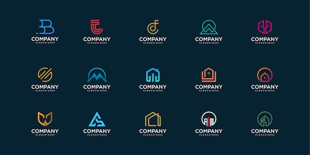 Set of company logo collection with modern concept for construction, technology, security and personal