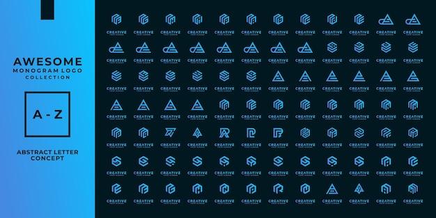 Set of company logo monogram design ideas vector