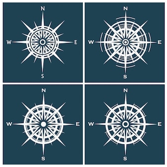 Set of compass roses or windroses
