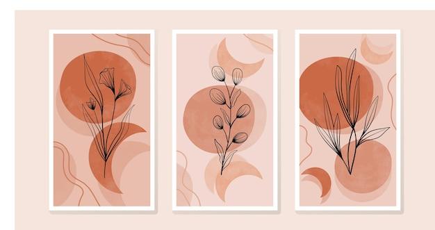 식물과 꽃 잎으로 구성을 설정합니다. 생태 보호 스타일의 디자인을 위한 트렌디한 콜라주. 인쇄, 표지, 벽지를 위한 추상 식물 예술 디자인.