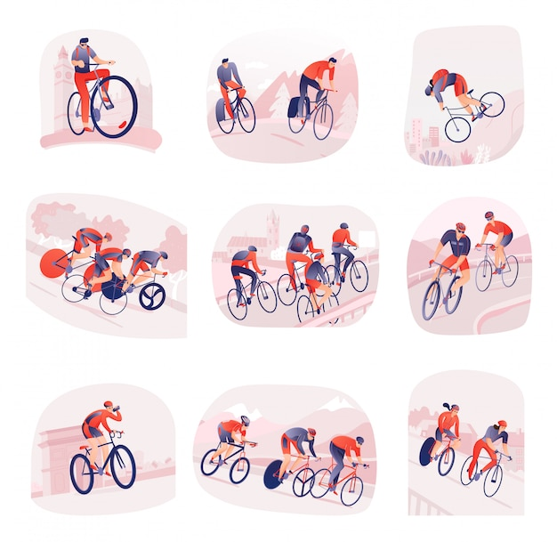 Set of compositions with bicyclists during cycling tour on  of city or nature isolated
