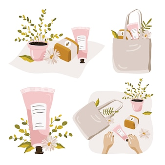 Set of compositions with plants and cosmetics.