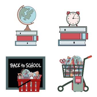 Set of compositions with school supplies, color vector illustration