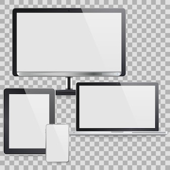 Set of computer devices like monitor and other devices