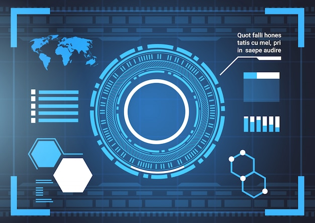 Set of computer futuristic infographic elements and world map tech abstract background template