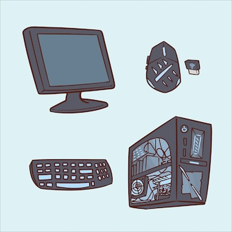 Set of computer hand drawing