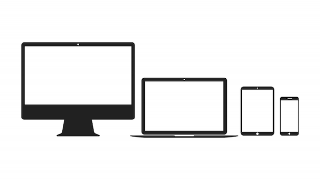 Set of computer, laptop, tablet and smartphone icons.
