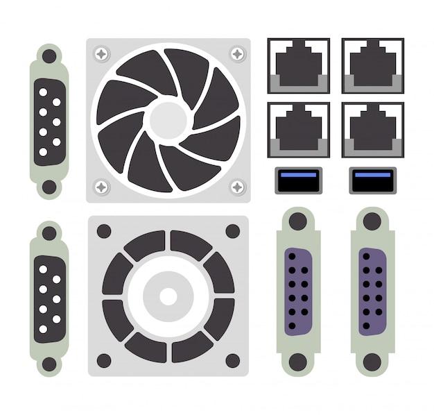 Set of computer parts