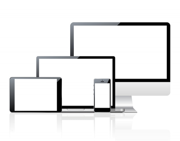 Set of computers and devices with blank screen