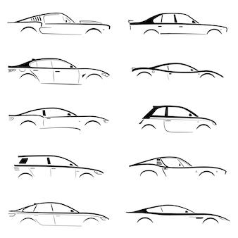 白い背景の上のコンセプトの黒い車のシルエットを設定します。