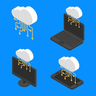 Set concept cloud network technology isometric. vector cloud server data internet