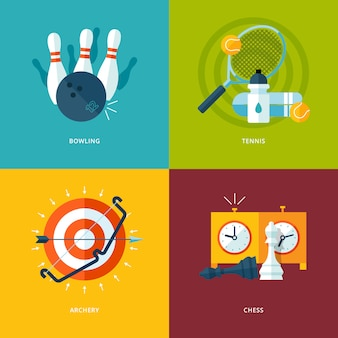 Set of   concept icons for sports kinds. icons for bowling playing, tennis, archery, chess playing.
