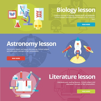 Set of   concepts for biology, astronomy, literature lessons. concepts for web s and print materials.