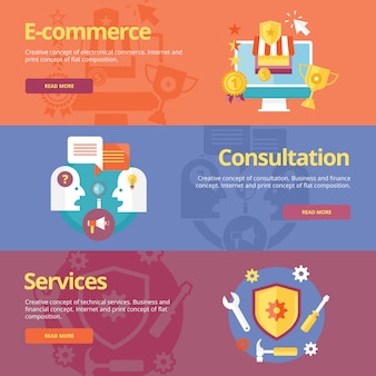 Set of   concepts for business e-commerce, consultation, services. concepts for web banners and print materials