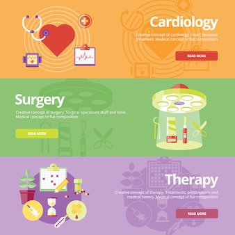 Set of   concepts for cardiology, surgery, therapy. medical concepts for web s and print materials.